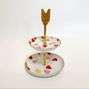 NEW Two-tiered Heart Tray Jewelry Gold